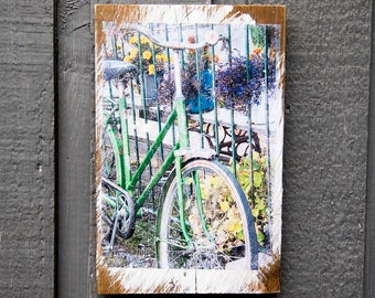 Vintage Green Bike Fine Art Photograph Manually Photo Transferred to Reclaimed Wood, Ready to Hang in Your Home