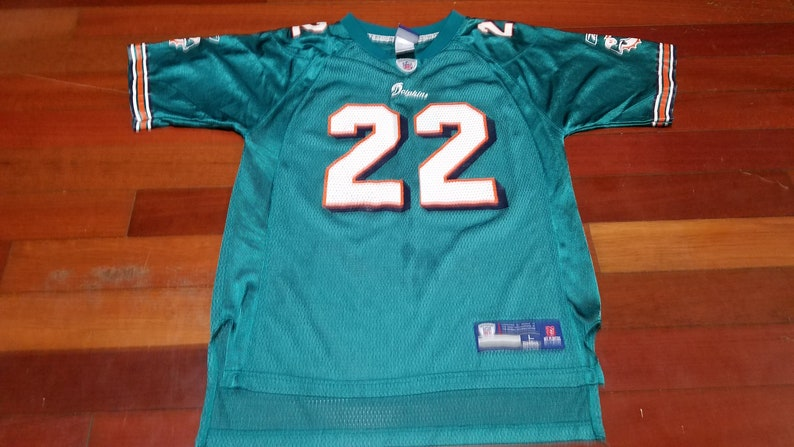 caa87904 kids vintage miami dolphins Reggie Bush nfl football jersey size L large  aqua boys girls unisex