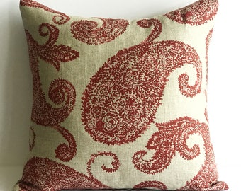 Paisley Linen Throw Pillow Covers