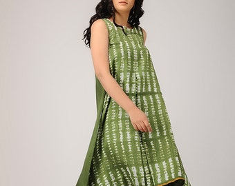 ab8de2172bb Handmade olive green shibori Dress
