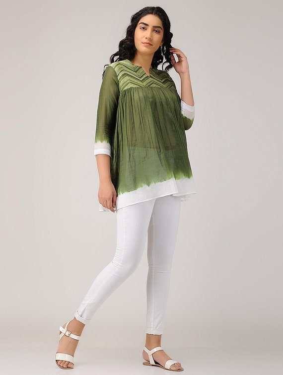 6d0d090d945 Handmade olive green shibori cotton top Loose cocktail top