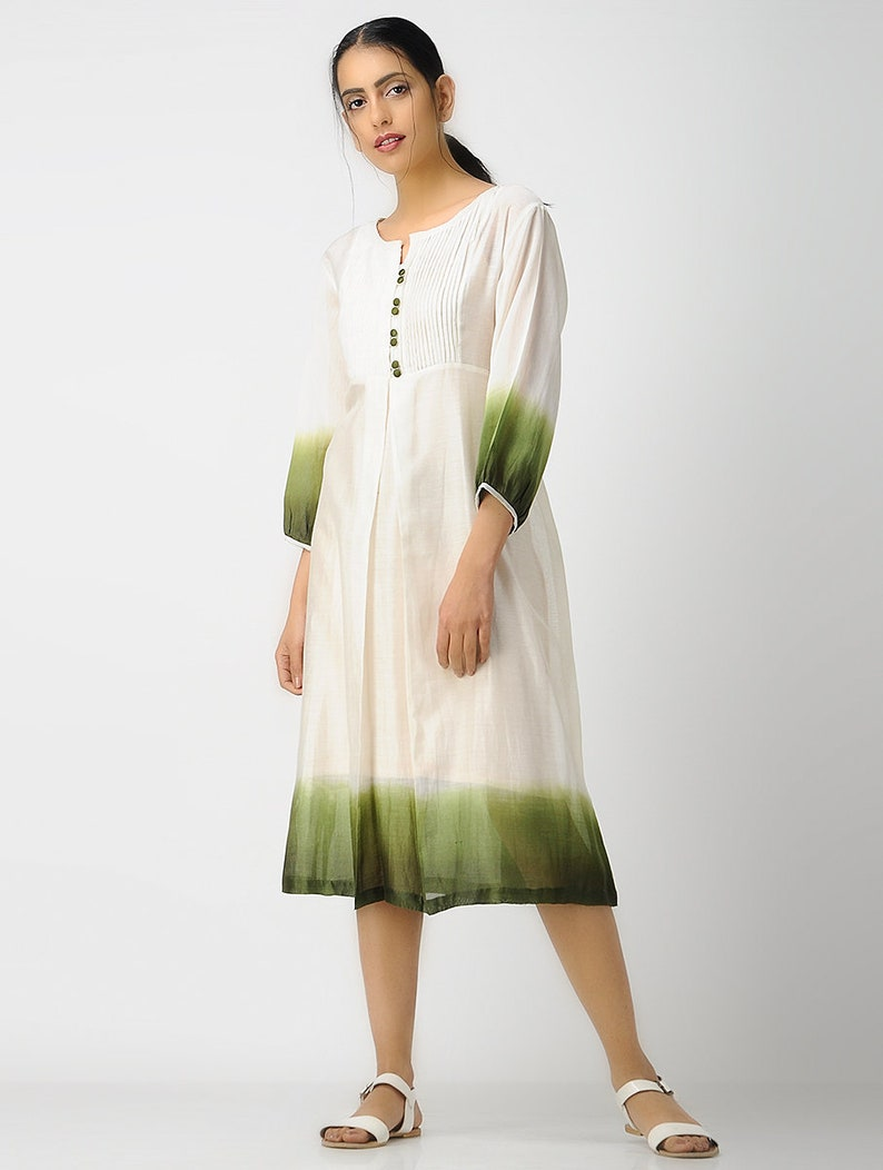 a3eac3d0881 Handmade olive green shibori dress Loose cocktail tunic