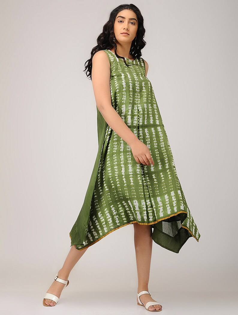 825cef7c10c Handmade olive green shibori Dress Loose cocktail tunic