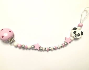 Pacifier clip personalized - wooden beads - pastel pink panda pattern