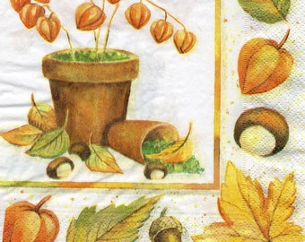 479 480 autumn pattern 4 X 1 towel/napkin/servietten/tovaglioli lunch size paper