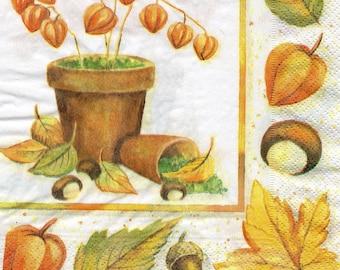 479 480 autumn pattern 4 X 1 towel/napkin/servietten/tovaglioli lunch size paper