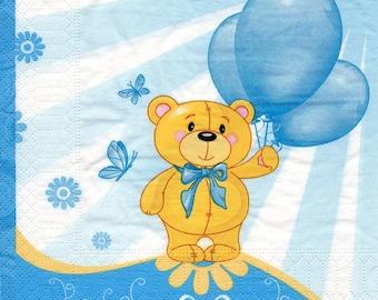 Teddy bear balloons Blue 1 paper towel 605