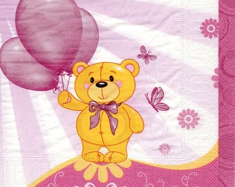 Teddy bear balloons ROSES 1 paper towel 610
