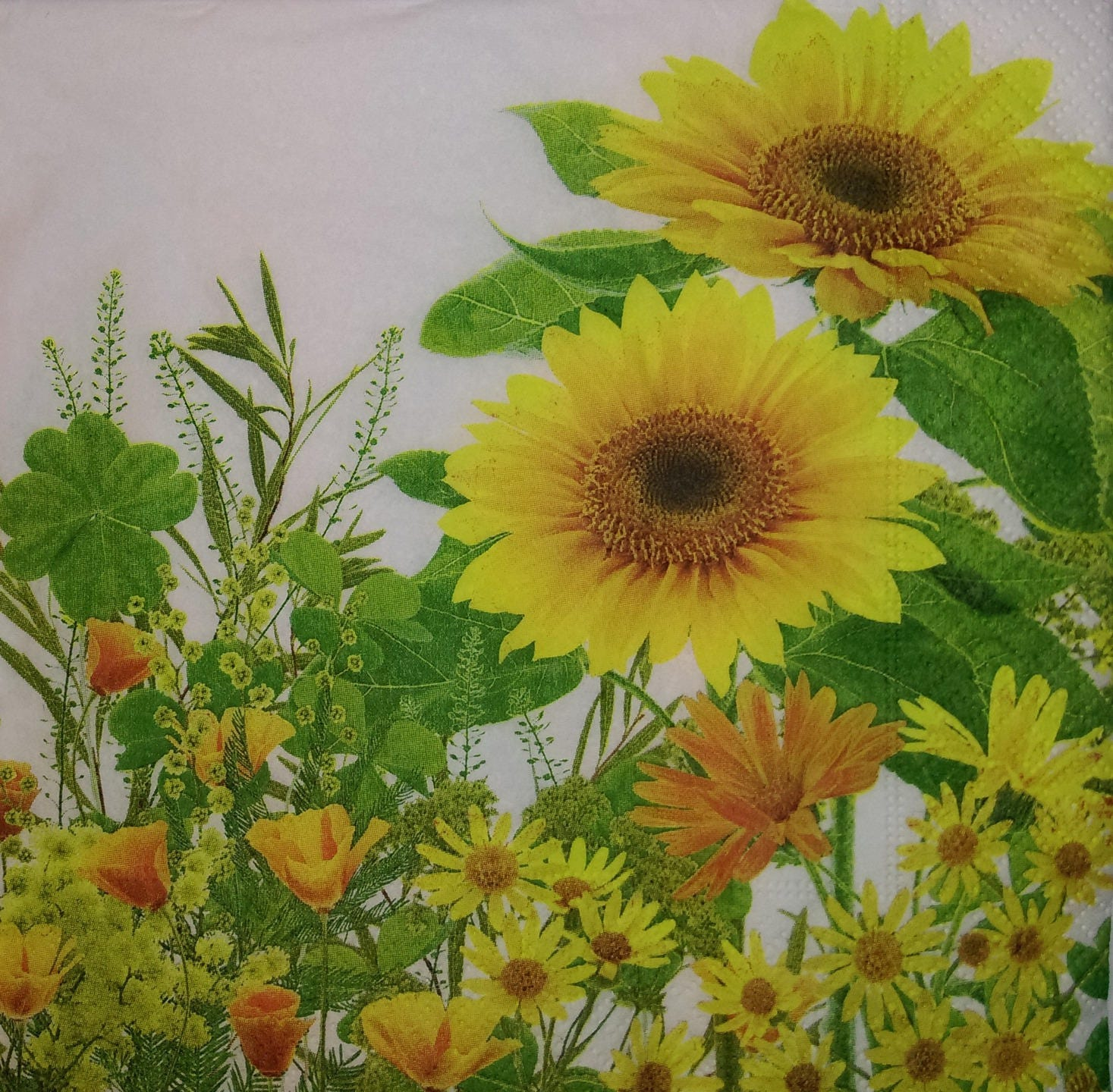 Pretty Yellow Flowers Pattern 4 X 1 Paper Lunch Size Napkin Etsy