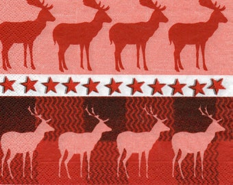440 REINDEER and deer 1 lunch size paper towel