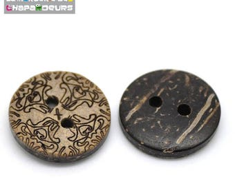 Set of 10 buttons 15 mm 2 holes Brown pattern round coco flower shell