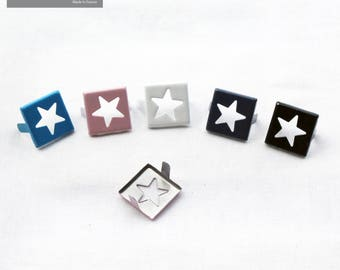 Set of 10 Rivets mixed color, nail on claw square inlay star customisation garment bag shoe etc.