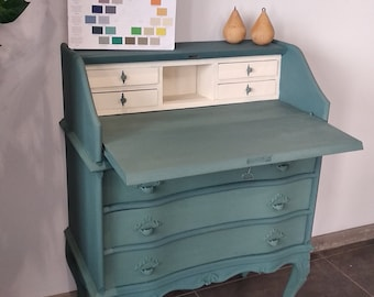 Small desk with three drawers and flips. Treated with casein paints and hemp oil.