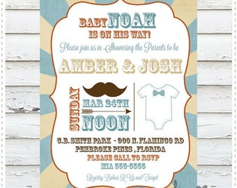 Mustache Onesie Baby Shower Invitation