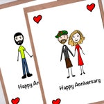 Custom Wedding Anniversary Card with Couple Portrait