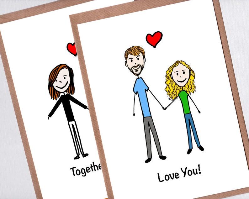 Anniversary Card Custom Couple Portrait Card