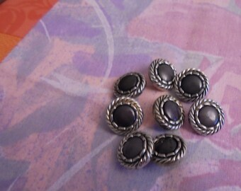 Set of 8 Vintage silver plated 15 mm buttons