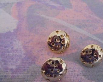 Set of 3 Vintage buttons metal gold 12 mm