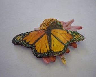 Scrapbooking paper, sticker, yellow/orange Butterfly