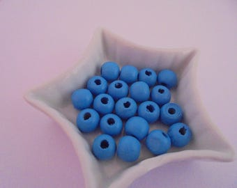 15 blue wood beads round 7 mm