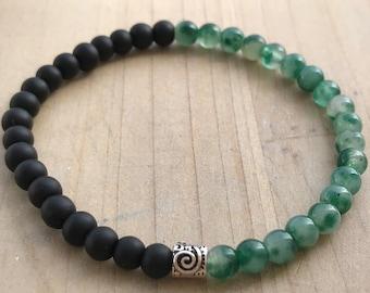 Men's  Bracelet, Protection Bracelet, Green Tourmaline, Matte Black Onyx, Yoga Bracelet, Spiritual Bracelet, Mala Bracelet, Wrist Mala