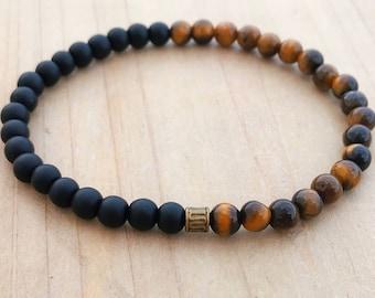 Men's Bracelet, Tiger's Eye Bracelet, Black Onyx Bracelet, Yoga Bracelet, Wrist Mala, Mala Bracelet, Mala Beads,