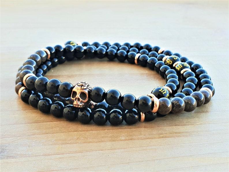Boho Bracelet Black Onyx Mala Bronzite Mala Spiritual Bracelet Black Tourmaline Mala Wrist Mala Bracelet 108 Wrap Bracelet