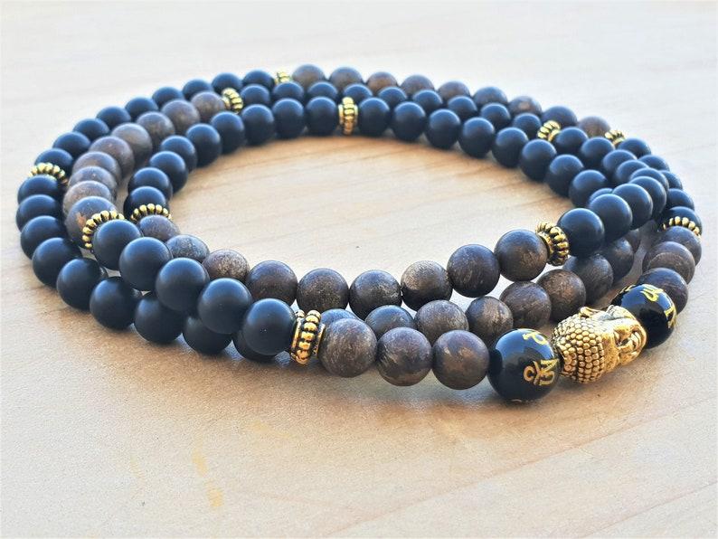 Yoga Bracelet 108 Wrap Bracelet Spiritual Bracelet Buddha Bracelet Wrist Mala Bronzite Black Onyx Boho Mala Beads Energy Bracelet