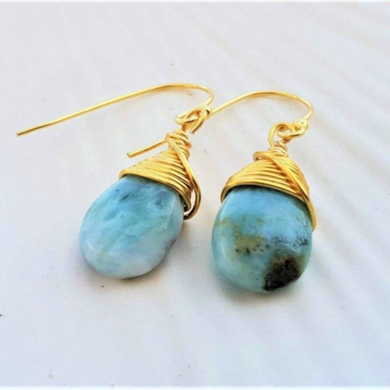 Wire Wrapped Earrings Larimar Earrings Gemstone Earrings Sterling Silver Gold Plated Earrings Teardrop Soul Sister Earrings Gift