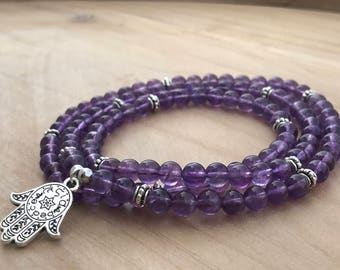 Amethyst Mala, 108 Wrap Bracelet, Wrist Mala Bracelet, Yoga Mala, Spiritual Bracelet, Boho Bracelet, Healing Bracelet, Energy Bracelet