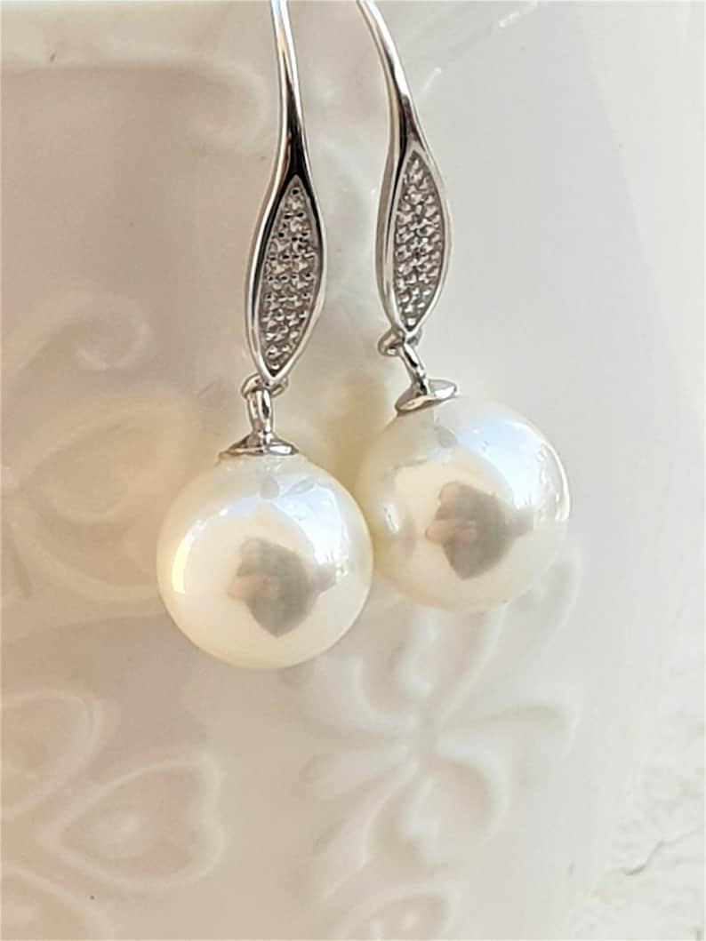 AAA cubic zirconia Gift For Her Sterling Silver 925 Pearl Earrings Wedding Earrings