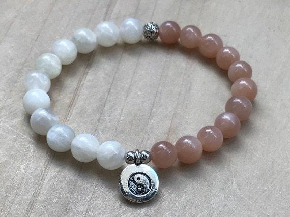 Moonstone Sunstone Howlite Bracelets Set-YinYang Energies-PEACEJOYFEMININE Energy-Yoga Bracelets Set-Wrist Mala-Gemstone Boho Bracelets
