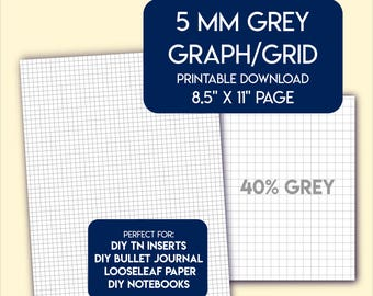 5 mm grey graph grid paper printable, US letter size.