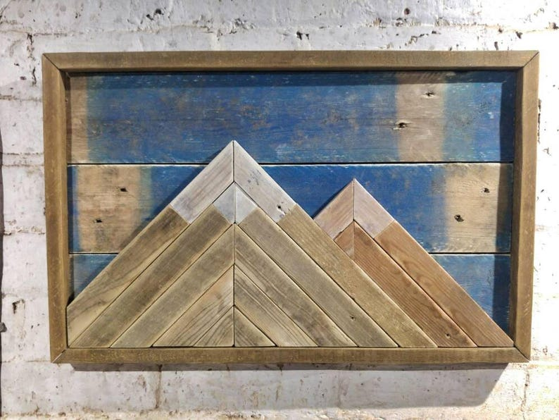 Wooden Mountain Wall Art In 3d Blue Sky Edition Made From Reclaimed Wood Rustic Mountains