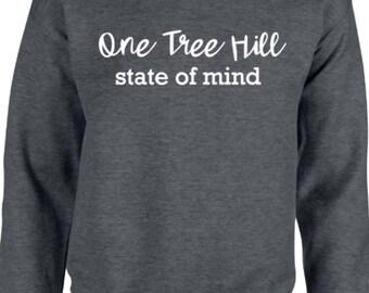 One Tree Hill state of mind dark heather grey crew neck sweatshirt!