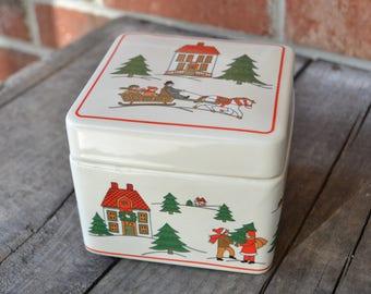 Jamestown China The Joy of Christmas Ceramic Box, Christmas Village Scene