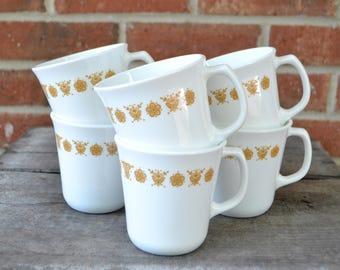 Corning Butterly Gold Mugs, Pyrex, Milkglass