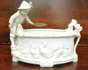 Hertwig Katzhutte Bisque Porcelain Bowl w/ Boy and Geese, 3173, Germany