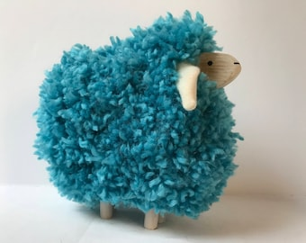 Wooden sheep and wool