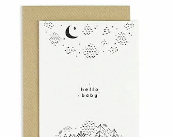 new baby card new baby greeting card stary night hand illustration baby greeting card monochrome card black and white new baby card - Baby Greeting Cards