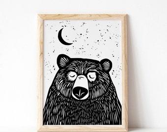 c088e4b2 Bear Print, Bear Illustration, Kids Print, Kids Room Decor, Baby Gift,  Monochrome Print, Black and White Print, Made in Ireland