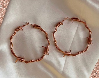 Large rose gold barbed wire hoop earrings