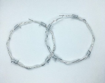 4c8b22203648f9 XL Large 7cm Barbed Wire Hoop Earrings / Large Textured Silver Barbed Wire  Effect Hoops XL