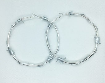 ea18c973a498f5 XL Barbed Wire Hoop Earrings / 7cm Extra Large Silver Tone Barbed Wire Hoops