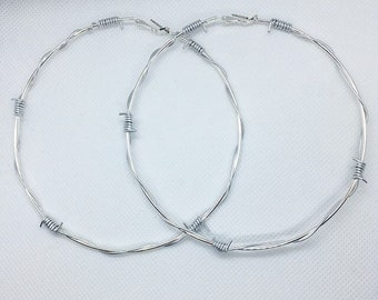 110f50273a22d5 Giant Barbed Wire Hoops Earrings / Thin Barbed Wire Silver Huge Hoops