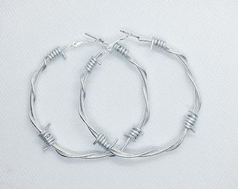 35985685d4d283 Large Barbed Wire Hoop Earrings / Silver Barbed Wire Circular Hoops