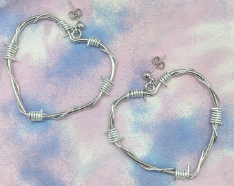 5c40db16694334 Silver Barbed Wire Heart Earrings / 5cm Barbed Wire Silver Heart Hoop Studs