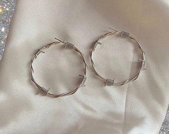 Medium Barbed Wire Hoop Earrings / Silver Plated Barbed Wire Hoops