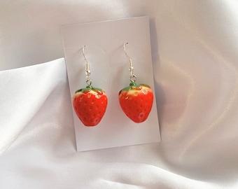 Mini strawberry earrings • silver fish hook strawberry earrings