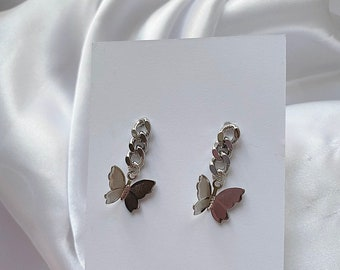 Silver butterfly chain earrings • Chunky silver chain butterfly earrings